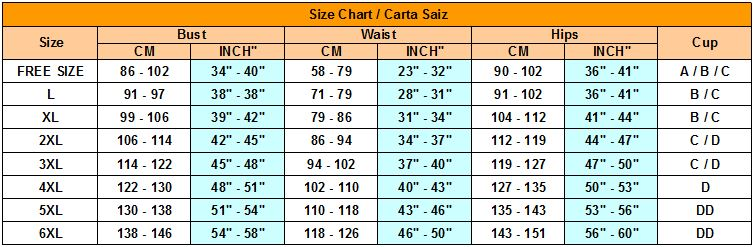 size chart for lingerie